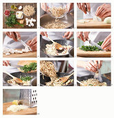 How to prepare corn and egg noodles with ham and mushrooms
