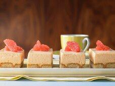 Grapefruit creme slices with sponge biscuits