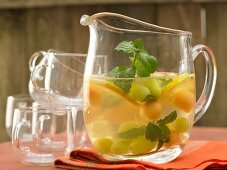 White sangria with grapes and melon