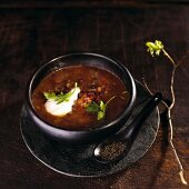 Black bean soup with sour cream (Mexico)