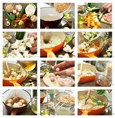 Children's minestrone with meatballs and vegetables being made