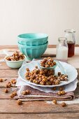 Chickpeas glazed with maple syrup, coconut milk and cinnamon as a snack