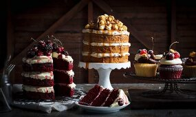 Assorted layered cakes and cupcakes