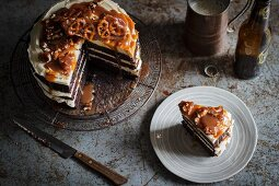 A chocolate and stout cake with pretzels