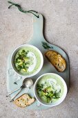 Chilled cucumber and avocado soup with dill