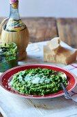 Green pea risotto