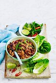 All new sizzling stir-fries - Pork Larb in Lettuce Cups