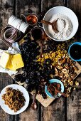 Ingredients for spelt and amaretto fruit cake