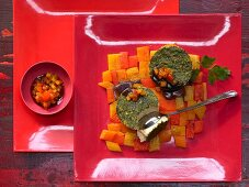 A mosaic of roasted peppers with a parsley flan
