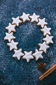A circle of cinnamon star biscuits