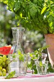 Water with mint in glass carafe on set table outdoors