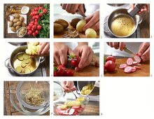 How to make potato salad with radishes and sprouts