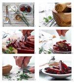 Rote-Bete-Salat mit frischem Kräuterquark zubereiten