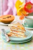 Buckwheat Pancakes with ricotta cheese and ham