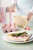 Fluffy Ham and Asparagus Omelette
