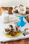 Banana coconut muffins with blueberries