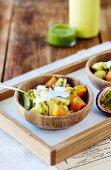 Detox fruit salad with coconut kefir
