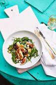 Grilled Haloumi with figs, hazelnuts, mushrooms, basil and rocket