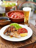 Portuguese Chicken with Garlic and Tomato Salad