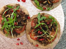 Lahmacun with lamb, pine and pomegranate seeds (Turkey)