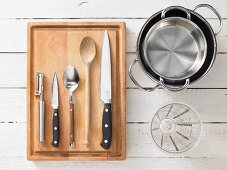 Kitchen utensils for making Thai calamari with coconut milk