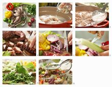 How to prepare an octopus and vegetable salad with chili, coriander and peppers
