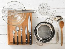 Kitchen utensils for making Cuban chocolate and coffee bean granita