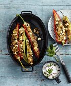 Stuffed pointed peppers with unripe spelt grain, feta and mint yoghurt dip