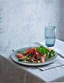Pink grapefruit, air-dried beef and watercress salad (low carb)