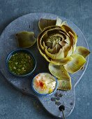 Artichokes with a lemon mayo and mint vinaigrette (low carb)