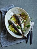 Stuffed oven-baked sardines on a bed of courgette (low carb)