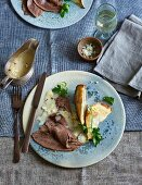 Prime boiled beef with baked celery and horseradish sauce (low carb)