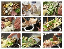 How to make prawns in an egg white coating with baby corn cobs, snow peas and shiitake mushrooms