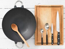Kitchen utensils for making a wok dish with seitan and bamboo