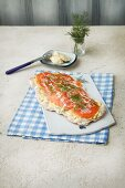 Focaccia with salmon, horseradish and dill