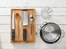 Kitchen utensils for making beetroot risotto