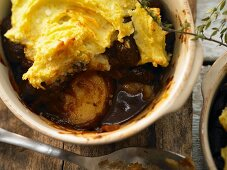 Shepherd's pie with lamb and red wine, topped with mashed potato