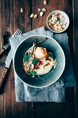 Fennel potato puree, poache pear, roasted fennel, roasted almonds