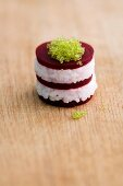 Red beet sushi with caviar
