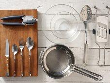 Kitchen utensils for making a bean salad