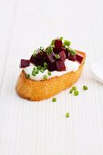 Crostini with horseradish and beetroot