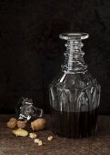 Candied ginger with rum flavouring in a decorative crystal glass jar