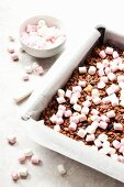 Rocky road slices with rice crispies and dried cherries