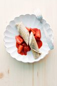 Poppy pancakes with strawberries