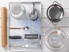 Kitchen utensils for making raspberry and yoghurt tarts