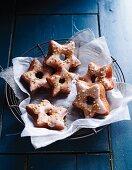 Star shaped cinammon doughnuts
