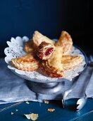 Sweet lard ravioli with a jam filling