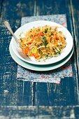Sauerkraut, leek and red pepper salad