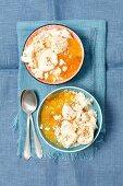 yogurt and apricot jam dessert with meringues