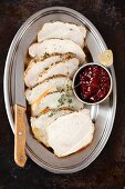 Baked pork loin with cranberry jam